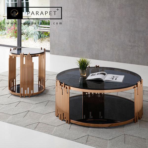 فروش و تولید میز جلو مبلی استیل والنتینا Valentina شیک و مدرن طلایی و نقره ای