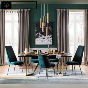 میز ناهارخوری استیل نقره ای و طلایی کامیلا Kamila