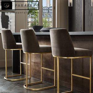 صندلی اپن استیل نقره ای طلایی و سورمه طوسی